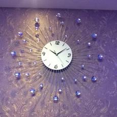 北欧简约客厅创意挂钟水晶钟夜光静音卧室时钟欧式个性现代钟表
