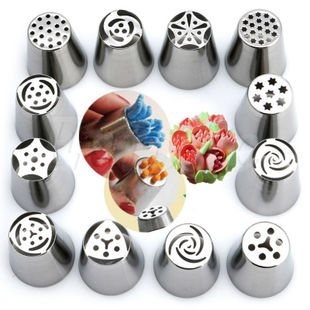 12pcs Russian Tulip Icing Piping Nozzles Cake Decoration Dec