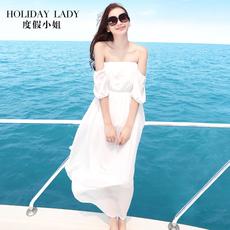 海边度假沙滩裙抹胸雪纺礼服裙连衣裙一字领露肩白色长裙夏海滩裙