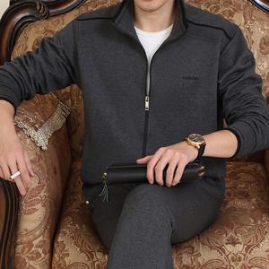 中年男士运动服休闲套装春秋卫衣40中老年爸爸大码运动衣棉质商务男大码运动装