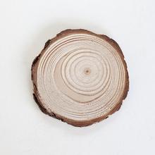 香薰蜡烛圆形带皮松木杯垫板天然原木片复古年轮创意家居做旧道具
