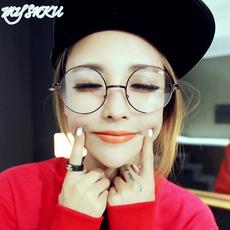 复古眼镜框架潮流圆形平光镜女款大框配光学近视眼睛男款圆框眼镜