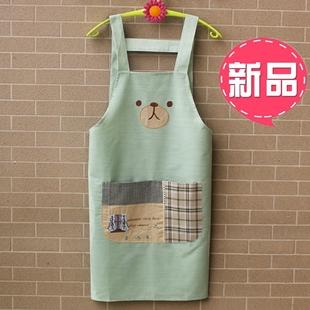 新款围裙韩版时尚可爱卡通围裙无袖厨房家居背带围兜男女情侣纯棉