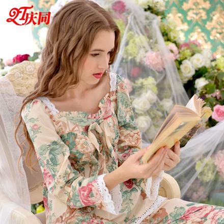 睡衣春秋季韩版孕妇女纯棉长袖甜美可爱公主风性感睡衣家居服套装
