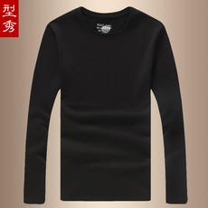 男士加绒加厚长袖T恤白色韩版纯色圆领打底衫冬季全棉黑色修身t桖