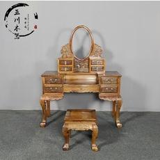 明清古典楠木小叶桢楠木雕花梳妆台两件套榆木全实木梳妆台可定制