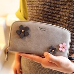 新款女包女士长款钱包韩版时尚可爱花朵钱夹磨砂皮女式手拿包