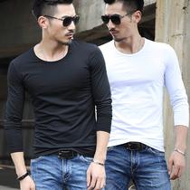 修身 长袖 T恤圆领纯白色体恤衫 春秋季加绒男士 男装 紧身上衣服打底