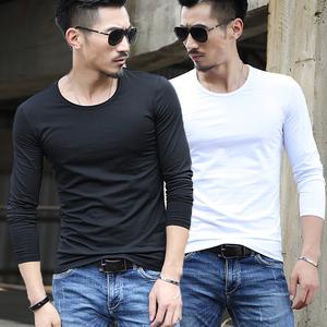 春秋季加绒男士长袖T恤圆领纯白色体恤衫修身男装紧身上衣服打底男士T恤