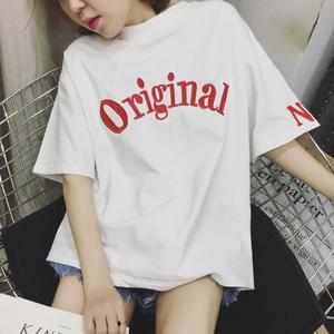 宽松短袖女t恤韩版潮bf学生新款夏季上衣刺绣学生大码白色体恤衫