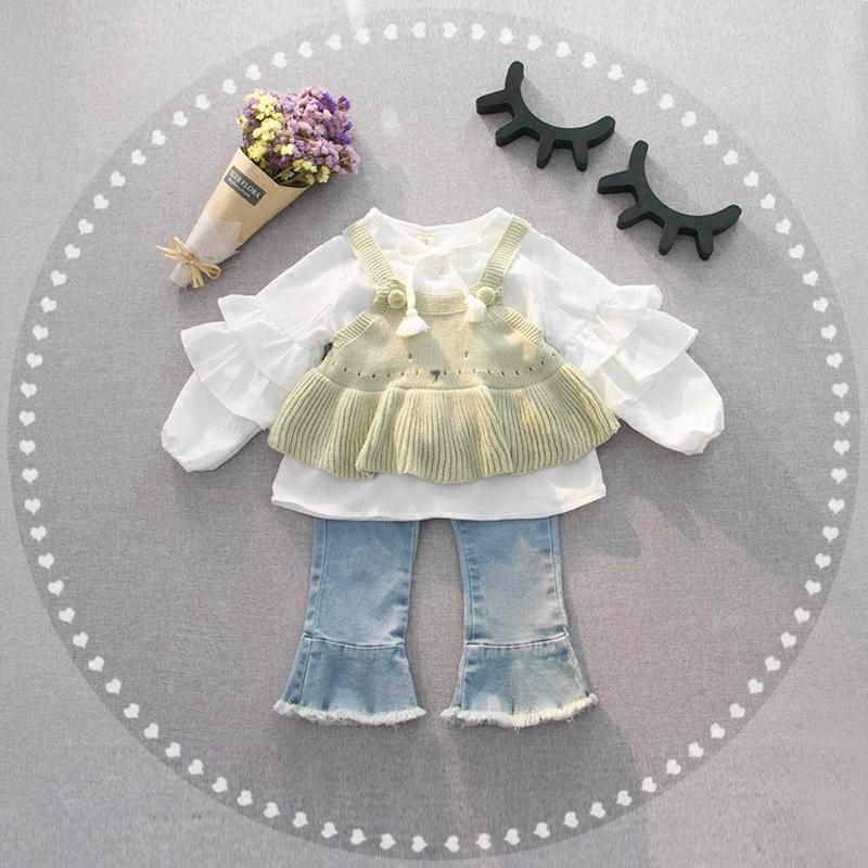 春装新款韩国女童装宝宝婴幼儿雪纺衬衫针织背心2件套装1-2-3岁潮儿童套装