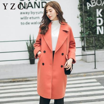 衣之纯秋冬2017新款韩版呢子大衣中长款气质修身双排扣毛呢外套女