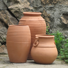 新品特价红陶花盆批发欧式土陶盆庭院园艺餐馆景观陶罐三件套组合
