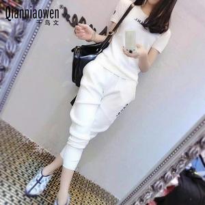 2017夏季新款韩版短袖棉质休闲运动套装女跑步运动服时尚两件套潮煤气钢瓶