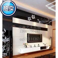 新款畅销烤漆艺术玻璃电视餐厅背景墙7字形钢化桌面经典黑白花藤