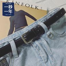 一秒一年针孔百搭休闲男士腰带 青年韩版学生简约潮黑色PU细皮带