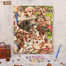 【魔术手】 diy数字油画风景动物田园手绘装饰画狗狗家的后院