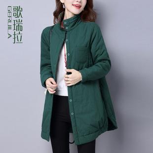 歌瑞拉2016冬季外套女棉衣中长款 韩版宽松休闲立领纯色棉服