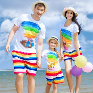 海边沙滩创意品牌亲子装夏装短袖t恤速干裤子母女装母子装2016款亲子装