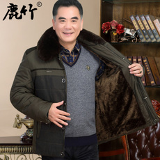 爸爸装棉袄子中年男士保暖加绒加厚款夹克衫冬季外套中老年男衣服