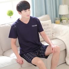 夏季青年短袖纯棉男士睡衣夏天男款套装男土青少年短裤薄款家居服
