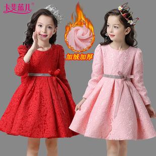 童装女童连衣裙秋冬装韩版长袖中大童加绒加厚儿童裙子宝宝公主裙