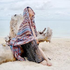 春夏新款民族风波西米亚棉麻女围巾沙滩防晒呼伦贝尔草原旅游披肩呼伦贝尔旅游