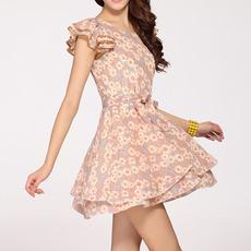 新款包邮中高档短袖连衣裙雪纺裙复古韩国女装新款碎花短裙子
