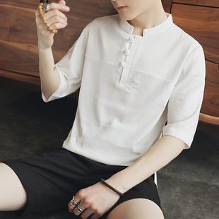 中国风立领衬衫男亚麻七分袖韩版修身夏季短袖休闲棉麻白衬衣潮