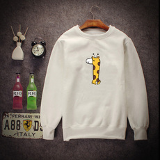 秋冬季小清新款韩版卡通长颈鹿纯色圆领卫衣套头长袖外套加绒加厚
