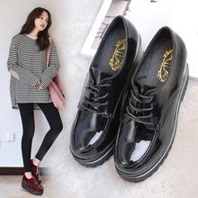 花卉百丽春夏韩版女鞋增高厚松糕底坡跟系带学生潮漆皮百搭单鞋女