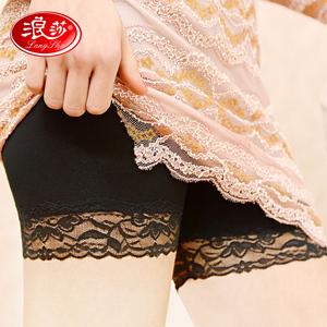 浪莎安全裤女 夏季防走光蕾丝保险裤外穿打底裤无痕低腰底裤夏薄