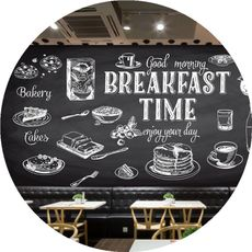 烘焙早餐面包蛋糕店披萨汉堡壁纸西式快餐厅创意手绘黑板墙纸壁画
