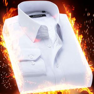白男士衬衫修身商务职业正装加绒加厚保暖长袖衬衣带绒寸衫冬季长袖衬衫男