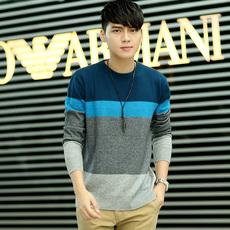 秋冬季新款毛衫韩版男士羊毛衫套头条纹毛衣男圆领修身羊绒针织衫
