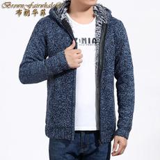 冬季正品秋冬男装男式外套加绒加厚休闲连帽开衫纯色青年拉链卫衣