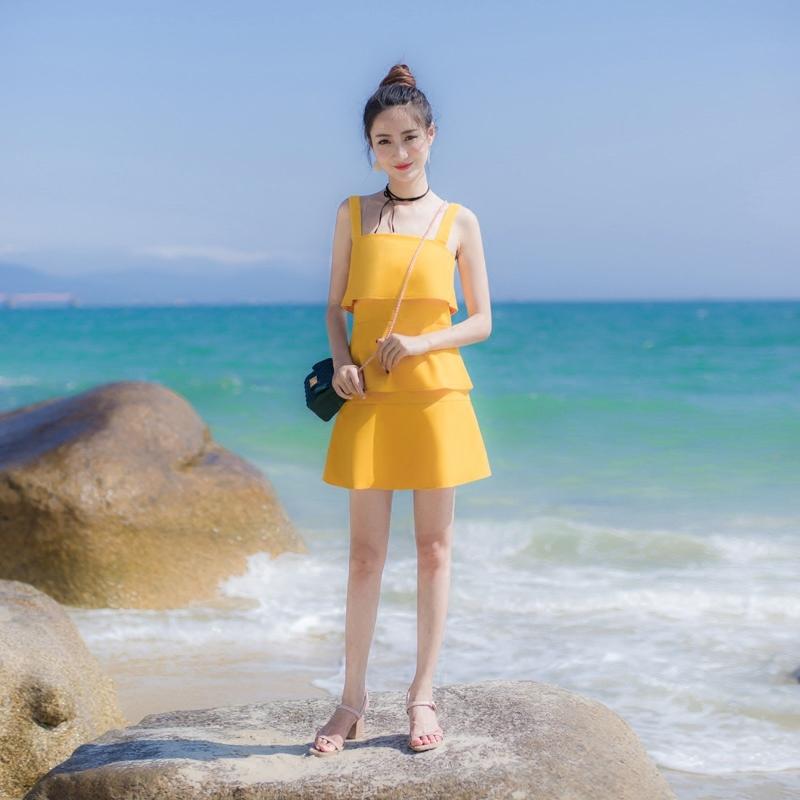 2018夏季新款女装修身显瘦小清新裙子吊带背心蛋糕裙荷叶边连衣裙图片