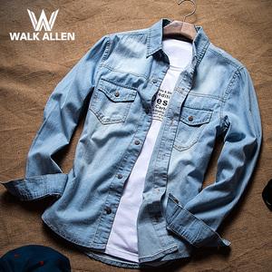 牛仔衬衫男长袖春秋季潮男装青少年韩版修身休闲衬衣男士外套薄款衬衫男