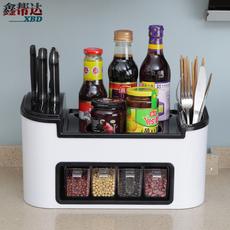 多功能厨房置物架调味盒调料瓶收纳架 筷子勺子储物架组合菜刀架