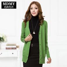 2017春季新款V领针织开衫女装毛衣外套中长款韩版外搭上衣大码
