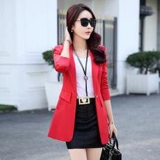 芸芊 春装新款西装外套韩版修身气质百搭纯色中长款休闲小西装女
