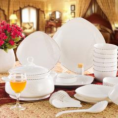 景德镇陶瓷器碟盘 56头韩式正品骨瓷餐具套装碗 银之恋 特价包邮