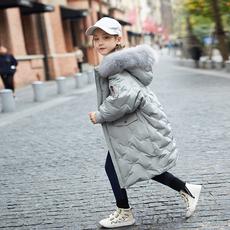 女童羽绒服中长款2017新款过膝大毛领冬装公主加厚中大童儿童外套