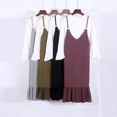 17春韩版v领吊带裙纯色鱼尾中长款连衣裙宽松百搭荷叶边背带裙夏