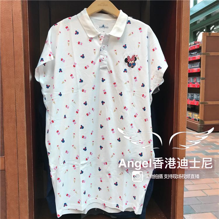 香港迪士尼乐园 米妮可爱卡通女装成人长款短袖上衣 套头长版T恤图片