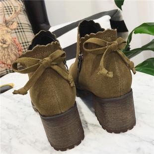 马丁靴裸靴2017春季粗跟高跟鞋松糕女鞋秋冬厚底新款韩版百搭短靴