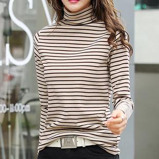 秋冬黑白条纹打底衫女长袖高领加绒修身显瘦百搭T恤简约纯棉上衣