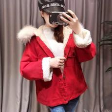 冬装新BF羊羔毛牛仔棉服女宽松狐狸大毛领连帽加绒加厚棉衣短外套