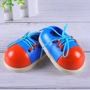 Baby tie shoelace practice wearing rope shoes wooden early e