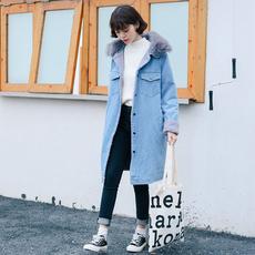 2017冬加绒加厚羊羔毛牛仔外套女宽松学生韩版bf中长款大毛领棉服